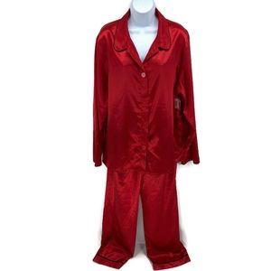 ADONNA Womens Red Satin Pajamas